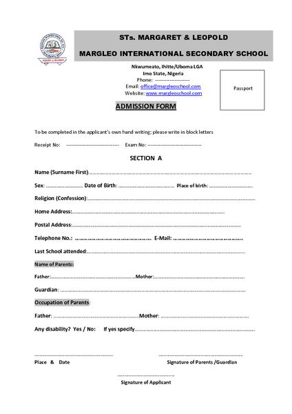 admission application form Parlobuenacocinaco